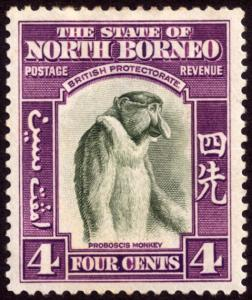 North Borneo 1939 4c Bronze-Green & Violet SG306 MH