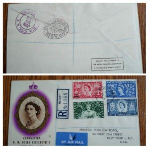 VERY RARE OMAN 1953 BRITISH ADMINISTRATION 'ONLY 8 KNOWN' REGISTERED COVER TO US