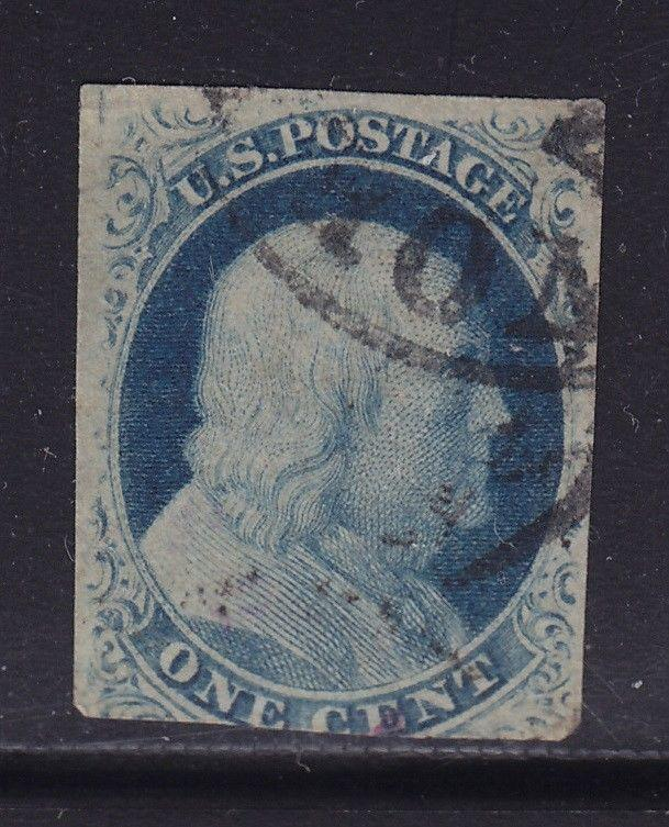 8 F-VF wide break at top neat cancel with nice color cv $ 2000 ! see pic !