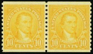 603, Mint 10¢ Superb NH Coil Pair GEM!!! - Stuart Katz