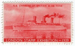 (I.B) Cinderella Collection : Stamp Exhibition 1939 (SS Empress of Britain)