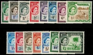 GAMBIA SG171-185, 1953-59 COMPLETE SET, LH MINT. Cat £110.