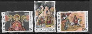 CYPRUS SG436/8 1974 CHRISTMAS MNH