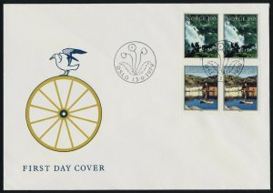 Norway 746-7 pairs on FDC - Horse, Road to Briksdal Glacier, Boat