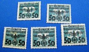 POLAND  1940  -  SCOTT # N51-N55  -   MINT NO GUM   (Hp1)