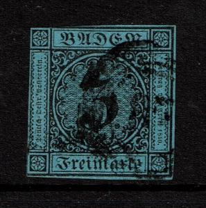 Baden SC# 8, Used (Noted as Mi# 8), an 87? in the cancel - S4147