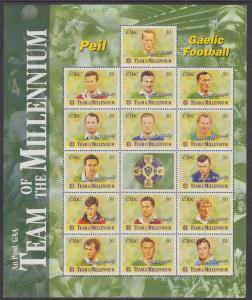 Ireland Sc 1185 MNH. 1999 Gaelic Football Sheet of 15 + Label, VF Sports