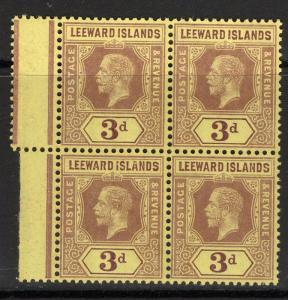LEEWARD ISLANDS SG51c 1920 3d PURPLE/BUFF MNH BLOCK OF 4