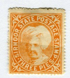 INDIAN STATES; SIRMOOR 1885-96 early classic local issue Mint hinged 3p. value
