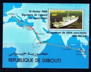 Djibouti C192 NH 1984 Ships and Map S/S
