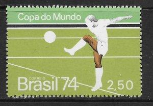BRAZIL  1351a   MINT HINGED,  SOCCER , SINGLE FROM SOUVENIR SHEET