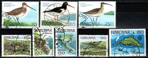 Faroe Islands #28-35  F-VF Used CV $3.80 (X5637)