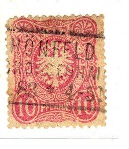 1879 -1880 Definitive - Value in 10 PF Bright carmine used sg41