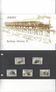 Jersey 361-5, Railway History II 1985, MNH, Presentation Pack