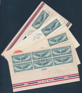 #C24 (4) DIFFERENT ON FIRST DAY COVERS MAY 16,1939 (1) WITH PLATE BLOCK BU4277