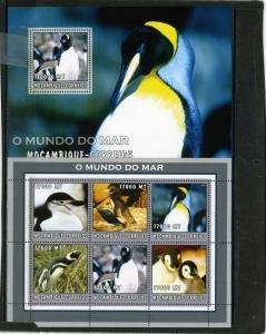 MOZAMBIQUE 2002 Sc#1659,1681 MARINE LIFE/PENGUINS SHEET OF 6 STAMPS & S/S MNH