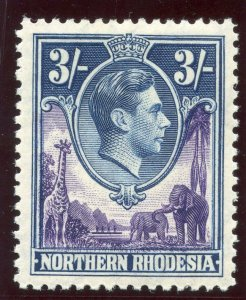 Northern Rhodesia 1938 KGVI 3s violet & blue MLH. SG 42. Sc 42.