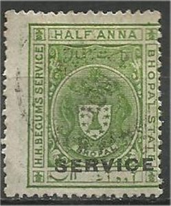 BHOPAL. 1908, used 1/2a  OFFICIAL Scott O1