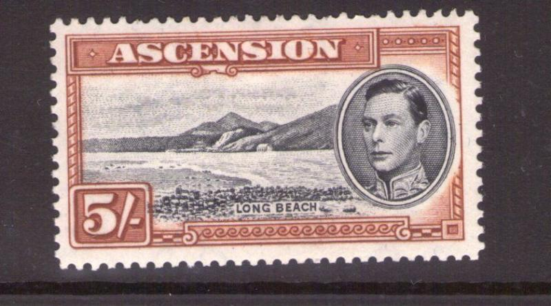 ASCENSION George VI SG46a 5/- Blk/yellow-brown ,single, multi-colour L/hinged