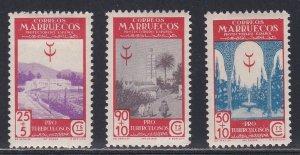 Spanish Morocco # B14-16, TB Fund Issue, Hinged