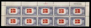 US #920 DENMARK, PLATE BLOCK of 10,  VF/XF mint never hinged, Fresh,   Super ...