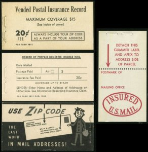 Vended Postal Insurance Record US Mail Post Office Booklet 1966 Mint Unused