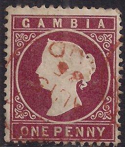 Gambia 1886 - 93 QV 1d Maroon Used SG 12b ( E2 )
