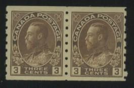Canada #129 MINT Pair F-VF OG LH 1 stp large thin Cat$55