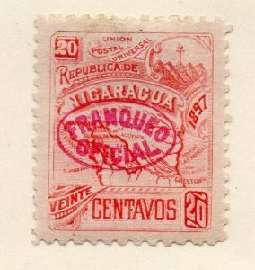 Nicaragua 1897 Early Issue Fine Mint Hinged 20c. Official Optd 323796