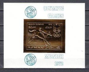Ajman, Mi cat. 963, BL336. Olympics-Equestrian Gold Foil Deluxe s/sheet. ^
