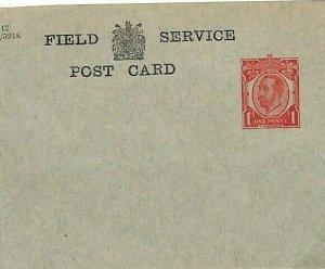 GB WW1 KGV Unused Stationery Card FIELD SERVICE FCP2 Bluish-Grey c1914 AD134