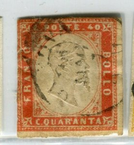 ITALY SARDINIA; 1855 classic Imperf issue used SHADE of 40c. value