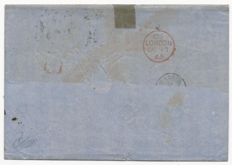 GREAT BRITAIN Scott #45 Pl #5 x2 on Cover to Spain 1865 Manchester