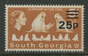 South Georgia - Scott 29 -Overprint -1971- MNH - Single 25p on a 5/- Stamp