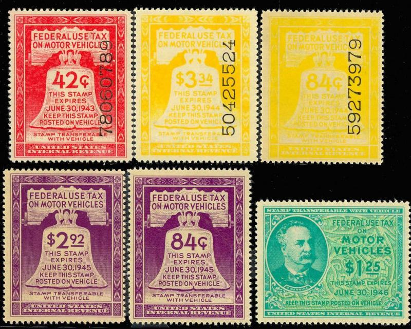 6 Motor Vehicle Stamps - ALL VF+ OG NH Cat $257.50