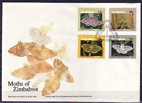 Zimbabwe, Scott cat. 529-532. Moths issue. First day cover.