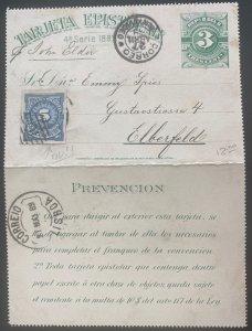 1889 Uruguay Postal Stationery Postcard Cover To Elberfeld Germany