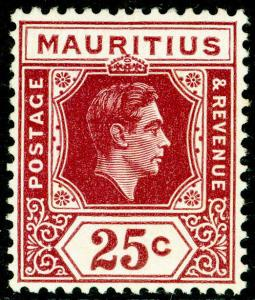 MAURITIUS SG259, 25c brown-purple, LH MINT. Cat £17.