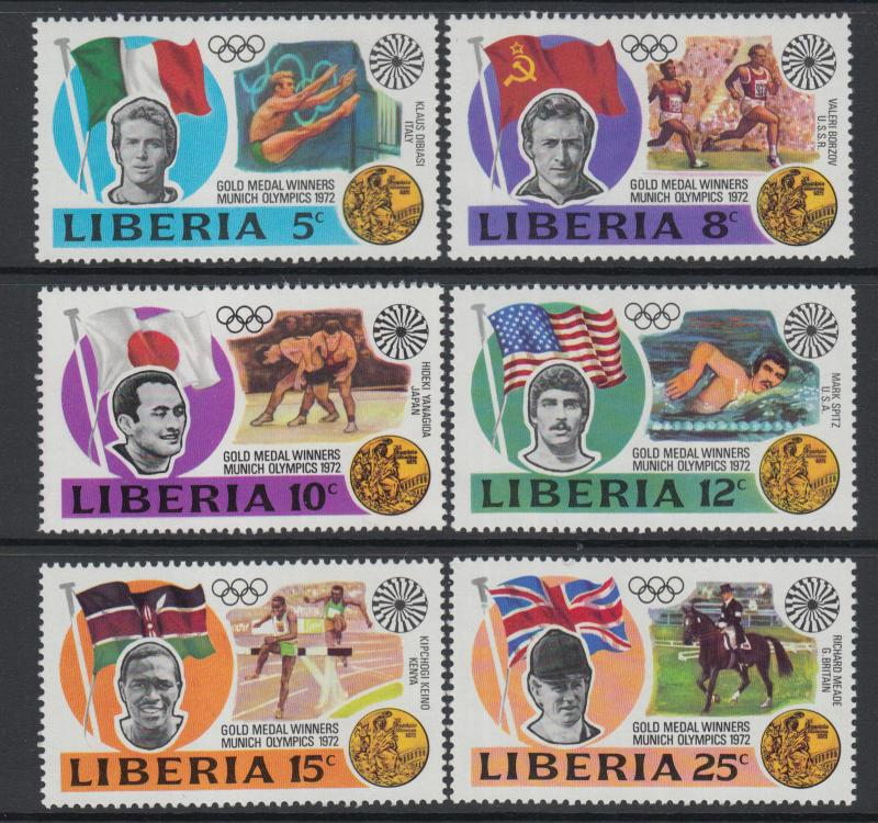 XG-O403 OLYMPIC GAMES - Liberia, 1972 Germany Munich '72, Gold Medalists MNH Set