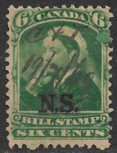 CANADA NOVA SCOTIA 1868 QV 6c BILL STAMP REVENUE Blob Under Six VDM. NSB7 USED