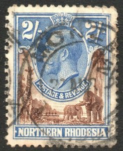 NORTHERN RHODESIA-1925-29 2/- Brown & Ultramarine Sg 11 AVERAGE USED V41882