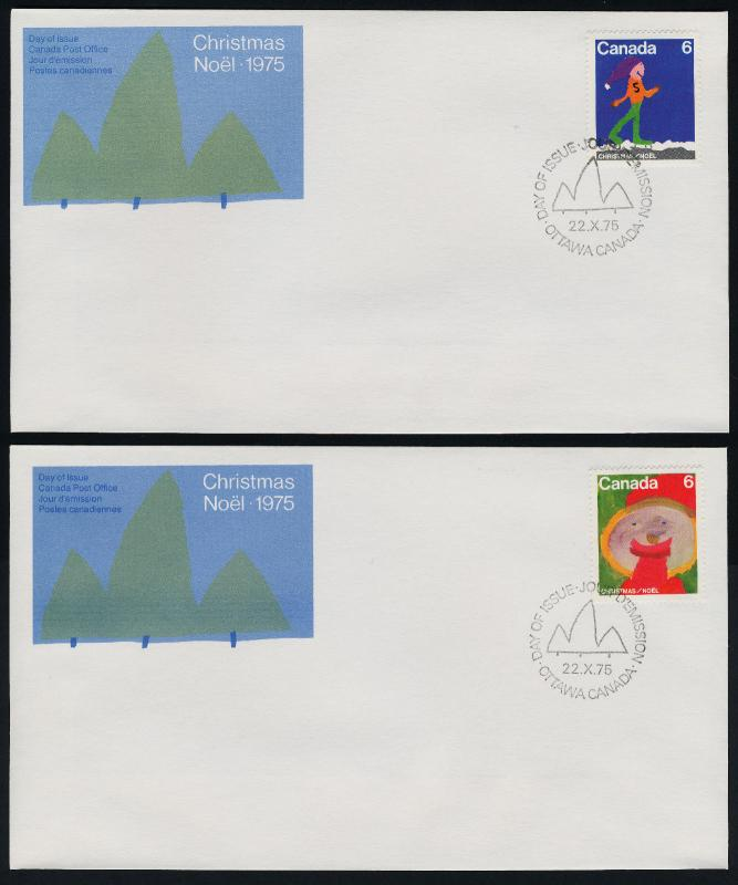 Canada 674-9 on FDC's Christmas, Children's Art