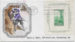 797 FDC, Hand Colored Historic Art Cache, Via Air Mail, Free Insured Shipping;