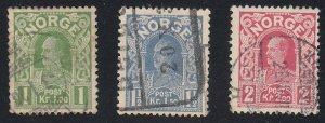 Norway - 1911-15 - SC 70-72 - Used - Short set
