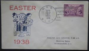 Naval Cover U S S Blue - Easter 1938 Portsmouth Va - Sunk Guadacanal  S403  S403