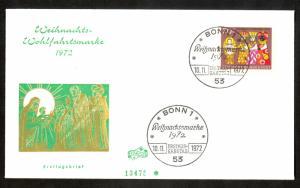 WEST GERMANY 1972 CHRISTMAS Semi Postal Issue U/A Cachet FDC B495