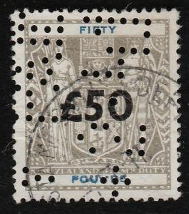 NEW ZEALAND ARMS STAMP DUTY £50 overprint used.............................59919