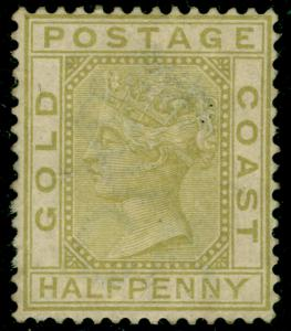 GOLD COAST SG9, ½d olive-yellow, UNUSED. Cat £250. WMK CROWN CA.