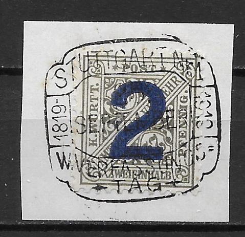 Germany (Wurttemberg) o149 Official single Used on Cut