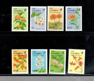GAMBIA #687-690  1987   WILDFLOWERS SET OF 8  MINT VF NH  O.G